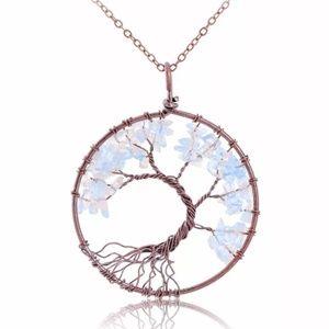 Opal Quartz Beaded Tree of Life Pendant Necklace